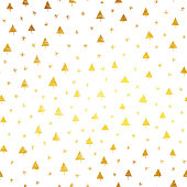 Stars and Christmas Trees on white paper card - simple modern seamless pattern design. Very attractive Christmas decoration in vector. Hand drawn doodles in gold shades.