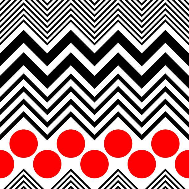 Nahtlose Kreis und Zick-Zack-Muster – Vektorgrafik