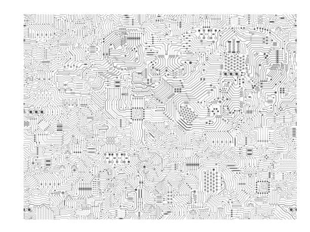 stockillustraties, clipart, cartoons en iconen met naadloze circuit achtergrond - printplaat