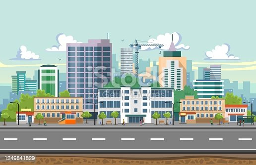 istock Seamless city landscape vector illustration. Summer city landscape in flat design. Modern city background with Skyscrapers, bus stop, road, trees and city buildings. 1249841829