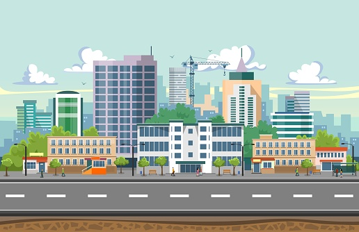 Seamless city landscape vector illustration. Summer city landscape in flat design. Modern city background with Skyscrapers, bus stop, road, trees and city buildings.