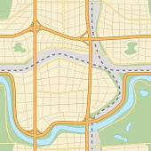 seamless city map with roads and parks
