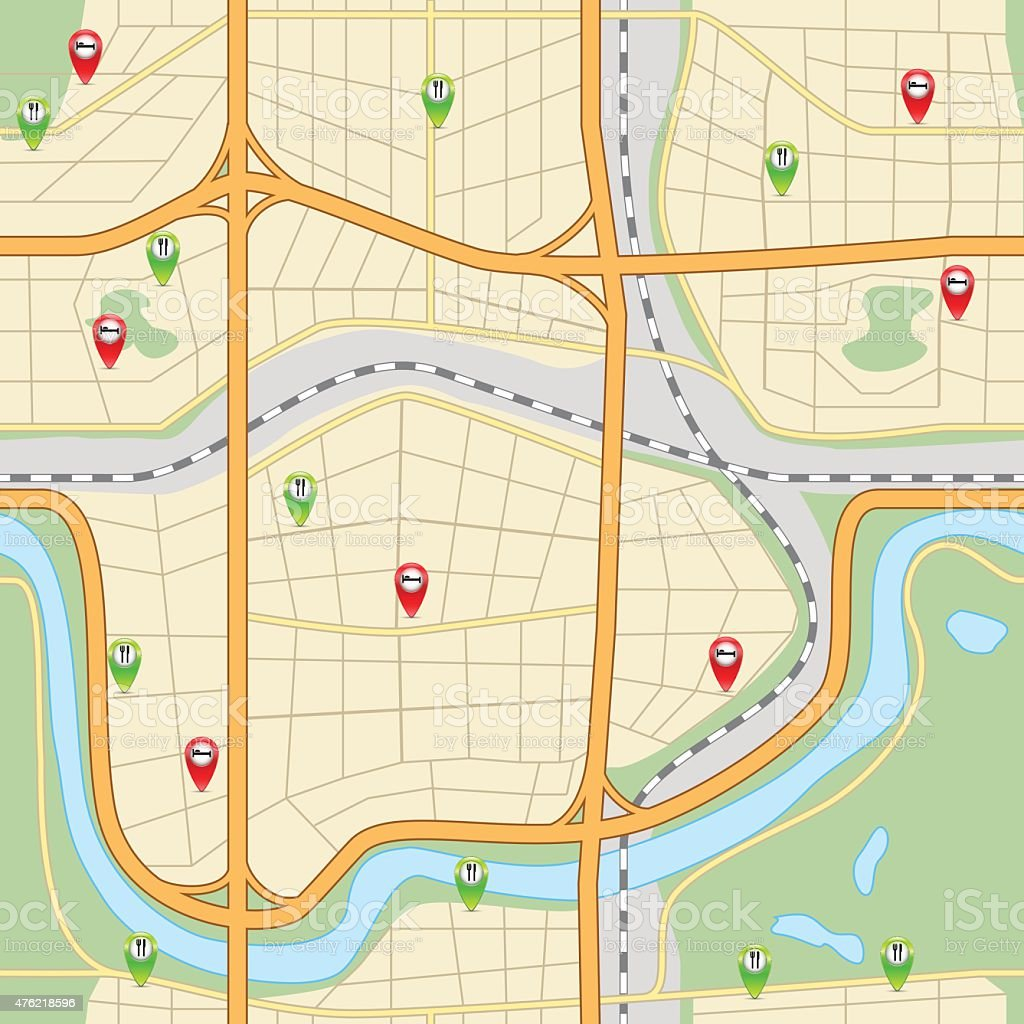 seamless city ​​map with roads and parks vector art illustration