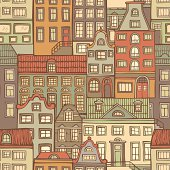 Seamless pattern with hand-drawn houses for your design. Pastel colours. EPS 8.