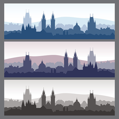 Seamless city skylines. Old town silhouettes set.