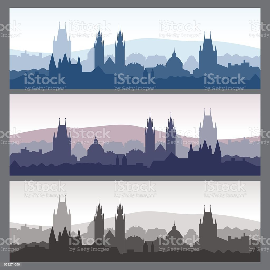 Seamless city skylines. Old town silhouettes set. vector art illustration