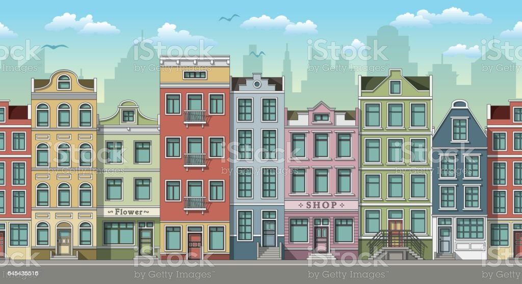 Seamless cityscape background with classic houses vector art illustration