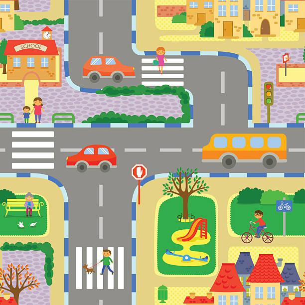 seamless cityscape vector art illustration