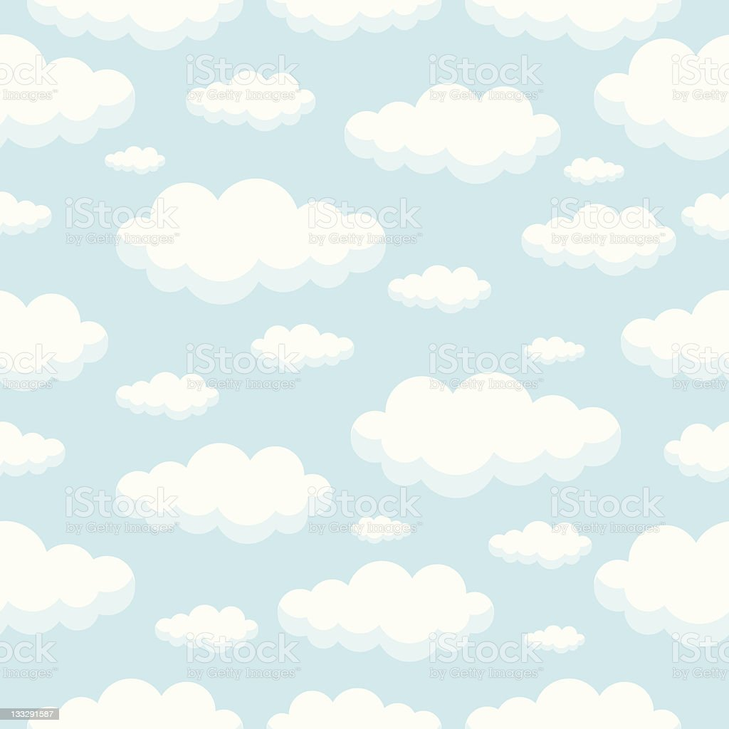 Seamless Clouds Pattern vector art illustration