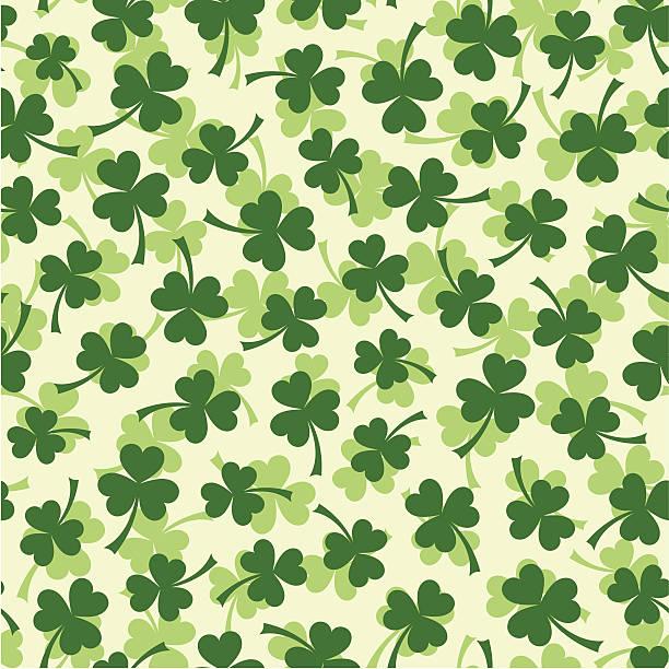 Seamless clover leaf pattern vector art illustration