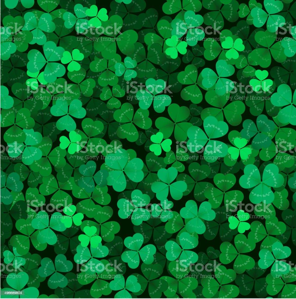 Seamless clover leaves background vector art illustration
