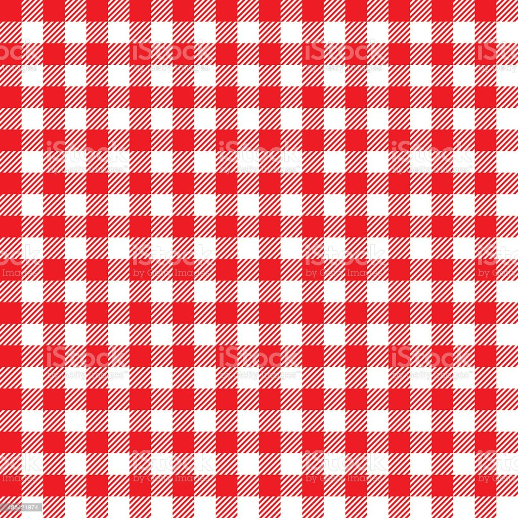 Seamless Coarse Red Checkered Plaid Fabric Pattern Texture vector art illustration