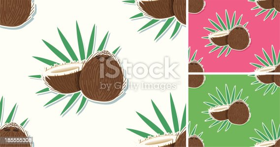 istock seamless Cocospattern with leafs. 185555308