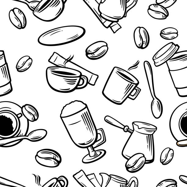 seamless coffee pattern hand drawn vintage vector illustration. - cappuccino stock illustrations