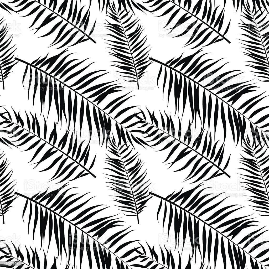 Seamless Color Palm Leaves Pattern Flat Style Black And White Royalty Free
