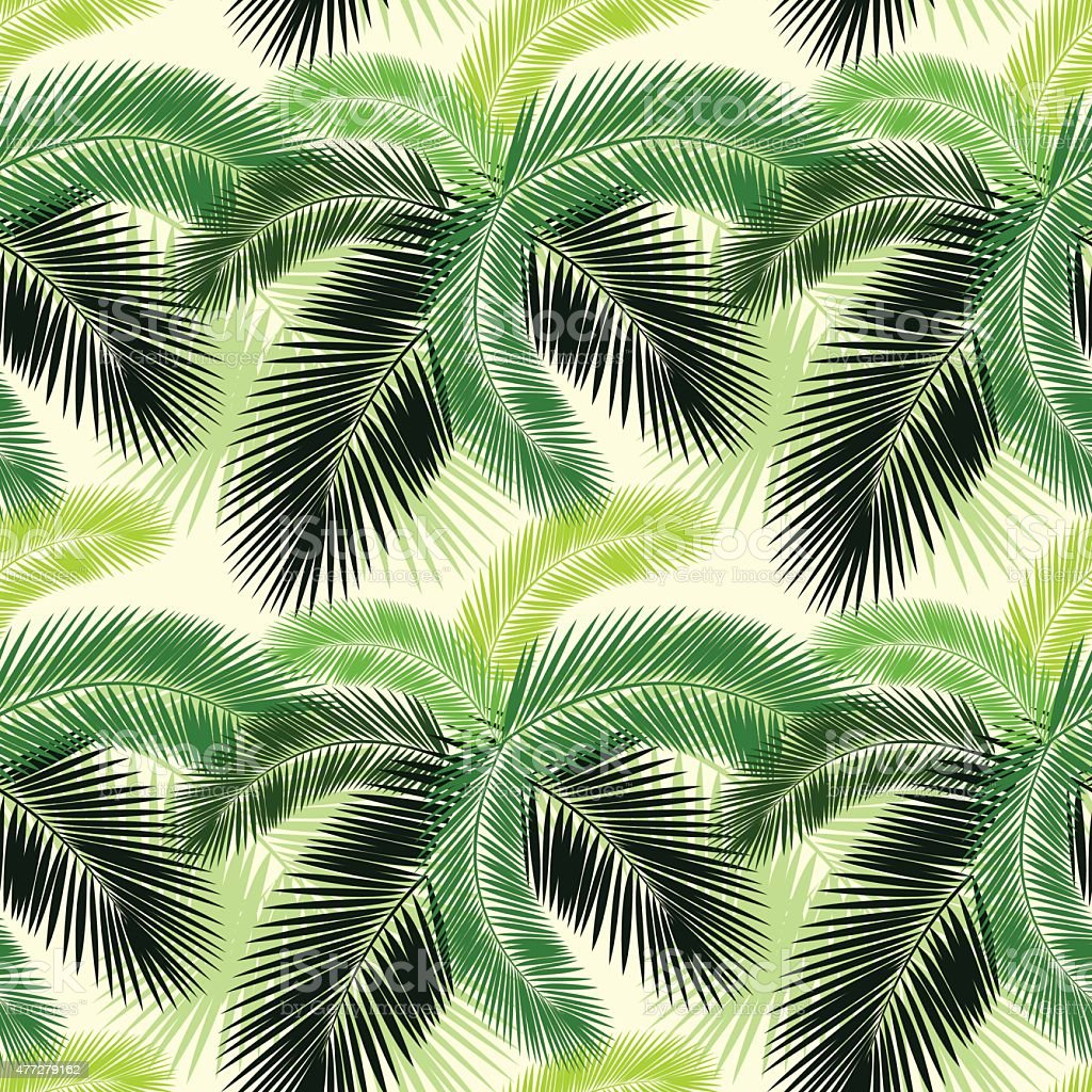 Seamless Color Palm Leaves Pattern Stock Vector Art & More Images of ...