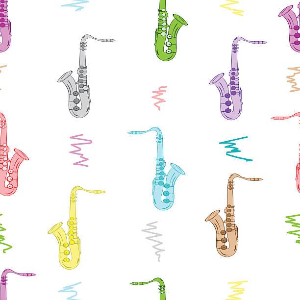 stockillustraties, clipart, cartoons en iconen met seamless color saxophones - tenor