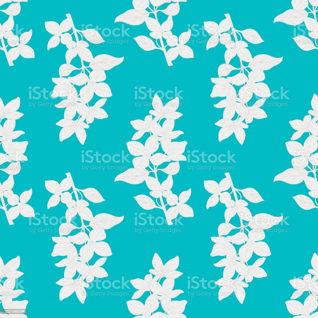 Seamless Color Textile Pattern Plant In Blossom Branch With Flower ...