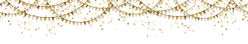 seamless colored garlands and confetti background