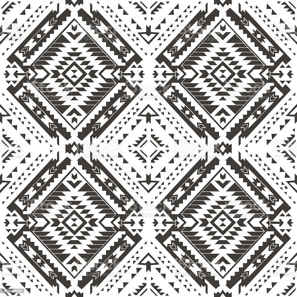 Ilustración De Patrón Sin Costuras Colorida Aztecas Dibujo A Lápiz Y