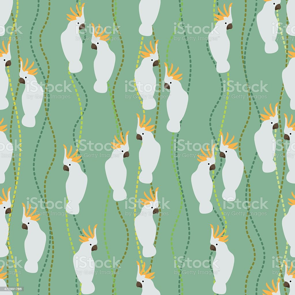 Seamless colorful background made of cockatoo  in flat design vector art illustration