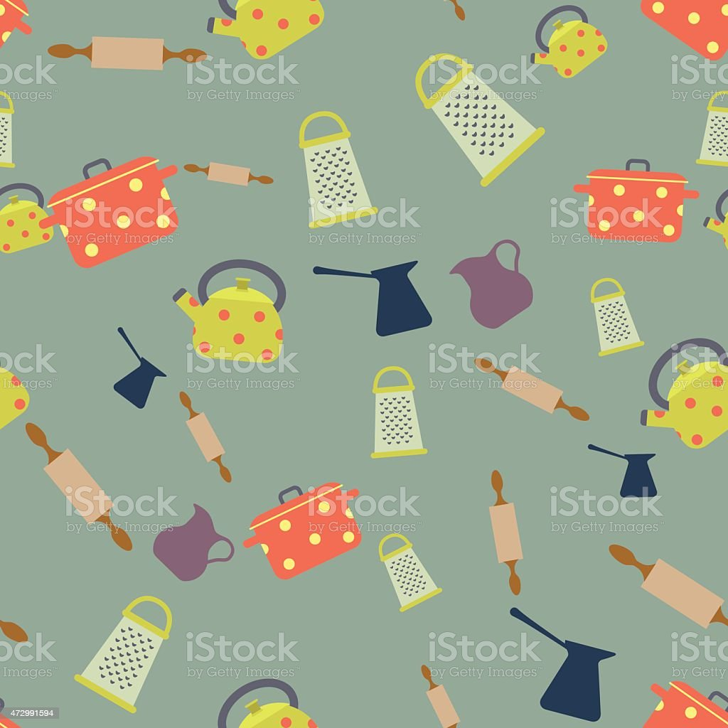 Seamless colorful background made of different kind of dishes vector art illustration