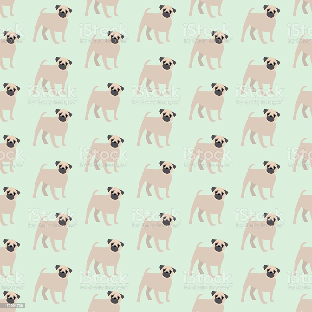 Seamless colorful background made of dogs breed pug vector art illustration