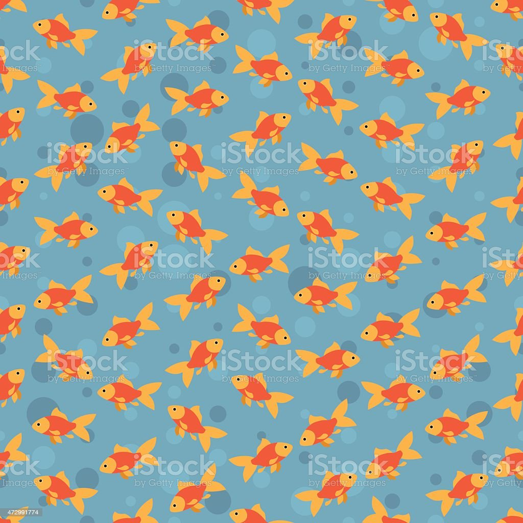 Seamless colorful background made of goldfish  in flat design vector art illustration