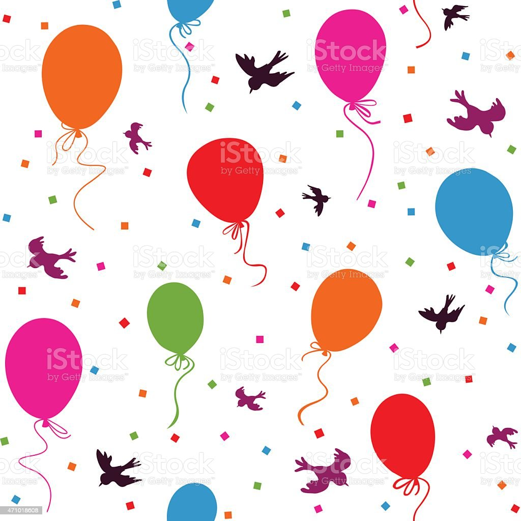 seamless colorful balloons floating vector art illustration
