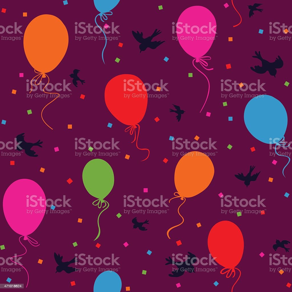 seamless colorful balloons in the sky vector art illustration