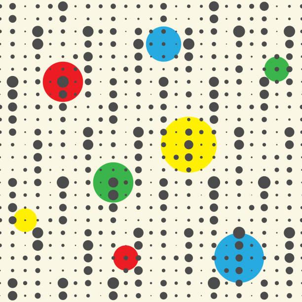 Nahtlose bunte Kreis-Muster. Vektor-Punkte-Hintergrund. Abstrakte geometrische Textur – Vektorgrafik