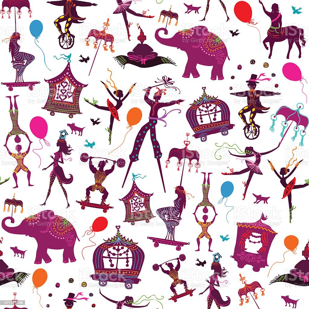 seamless colorful circus characters vector art illustration
