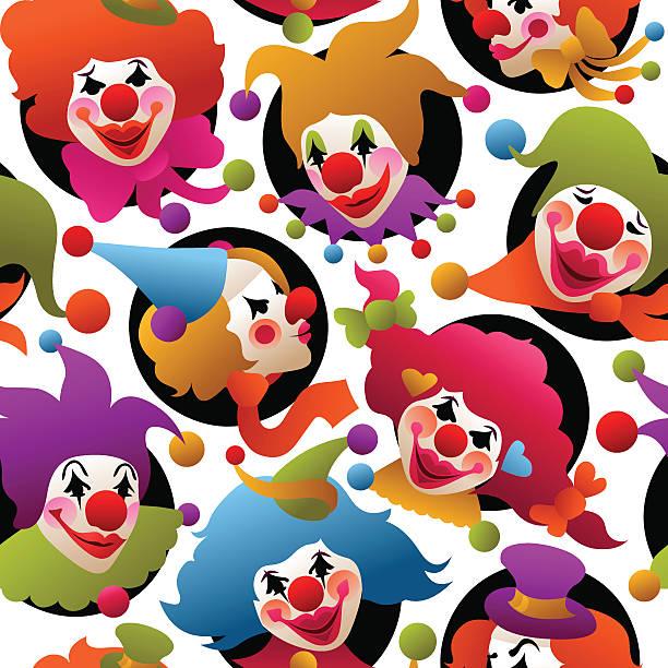 seamless colorful clown portraits vector art illustration