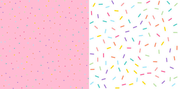 Seamless Colorful confetti sprinkle pattern wallpaper background. Vector illustration. Seamless Colorful confetti sprinkle pattern wallpaper background set. Vector illustration. candy patterns stock illustrations