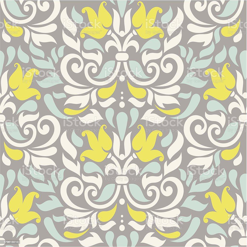seamless colorful damask pattern vector art illustration
