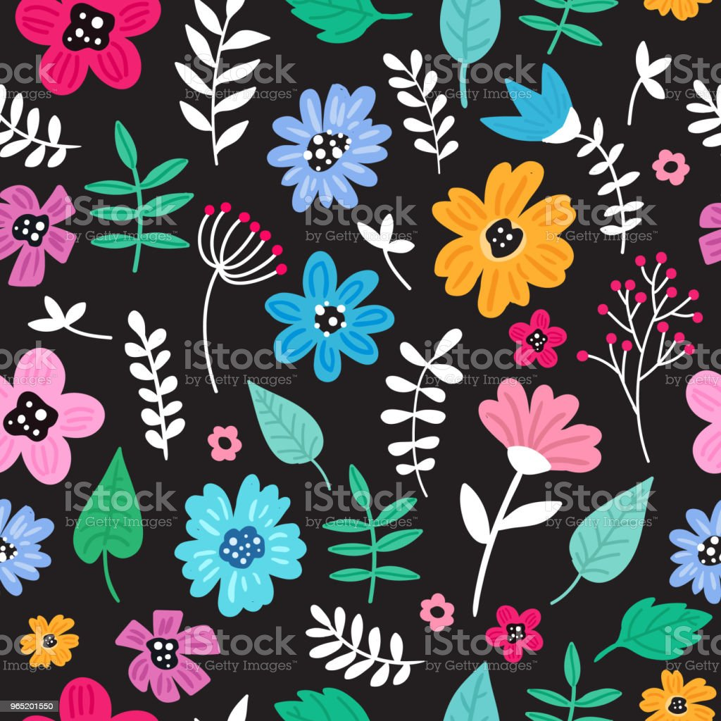Seamless colorful hand drawn floral pattern with wild flowers on black background. Simple scandinavian style. royalty-free seamless colorful hand drawn floral pattern with wild flowers on black background simple scandinavian style stock vector art & more images of abstract