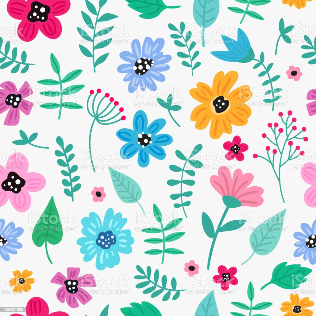 Seamless colorful hand drawn floral pattern with wild flowers. Simple scandinavian style. seamless colorful hand drawn floral pattern with wild flowers simple scandinavian style - stockowe grafiki wektorowe i więcej obrazów abstrakcja royalty-free