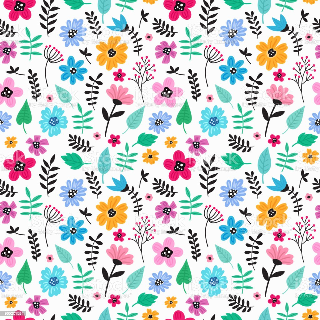 Seamless colorful hand drawn floral pattern with wild flowers. Simple scandinavian style. royalty-free seamless colorful hand drawn floral pattern with wild flowers simple scandinavian style stock vector art & more images of abstract