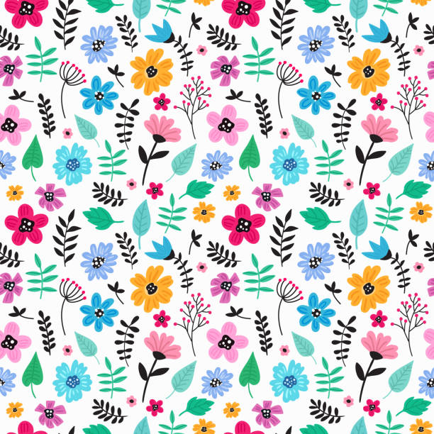 seamless colorful hand drawn floral pattern with wild flowers. simple scandinavian style. - floral pattern stock illustrations, clip art, cartoons, & icons