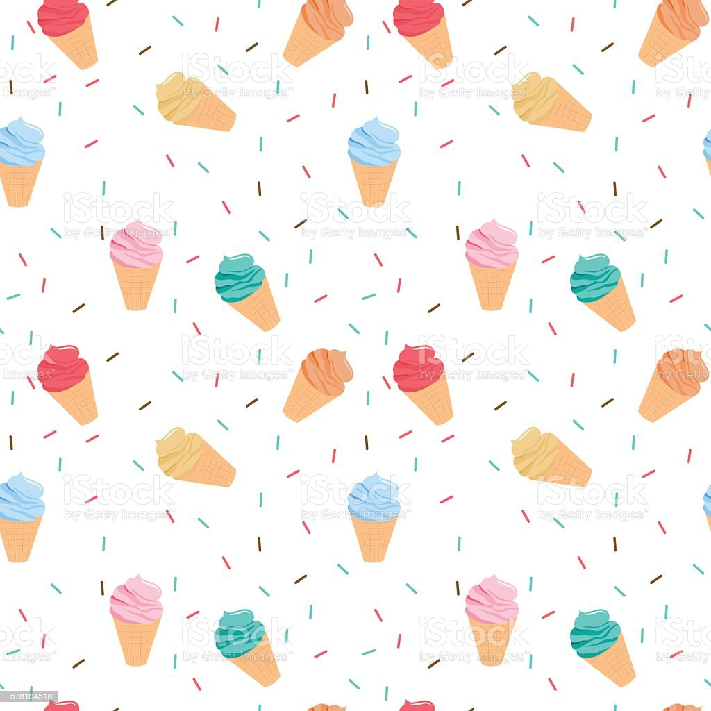 Seamless Ice Cream Wallpaper Royalty Free Stock Images: Seamless Colorful Ice Cream Pattern Stock Vector Art