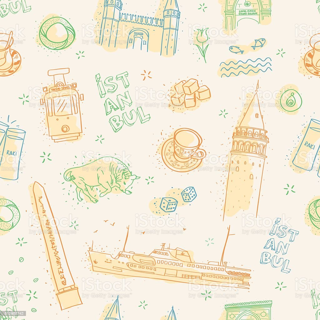 seamless colorful istanbul pattern vector art illustration
