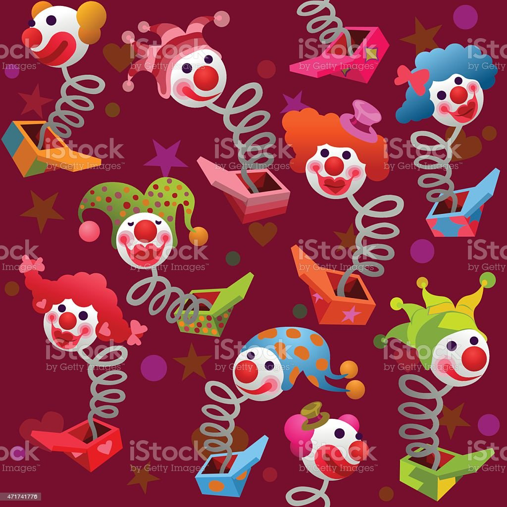 seamless colorful jack in the box puppets vector art illustration