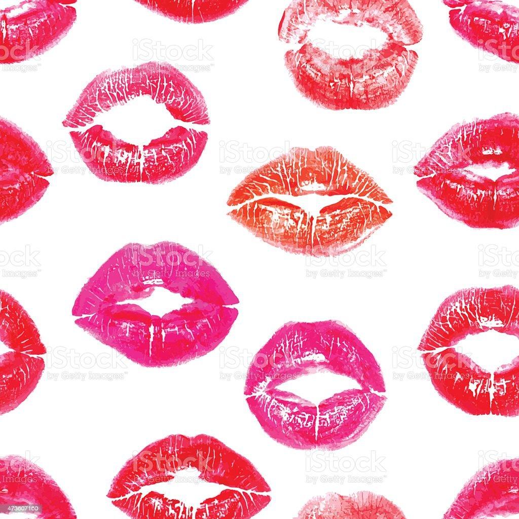 Seamless colorful lips prints vector art illustration
