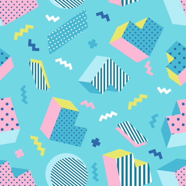 Seamless colorful old school geometric mint green background pattern. Vector illustration funky stock illustrations