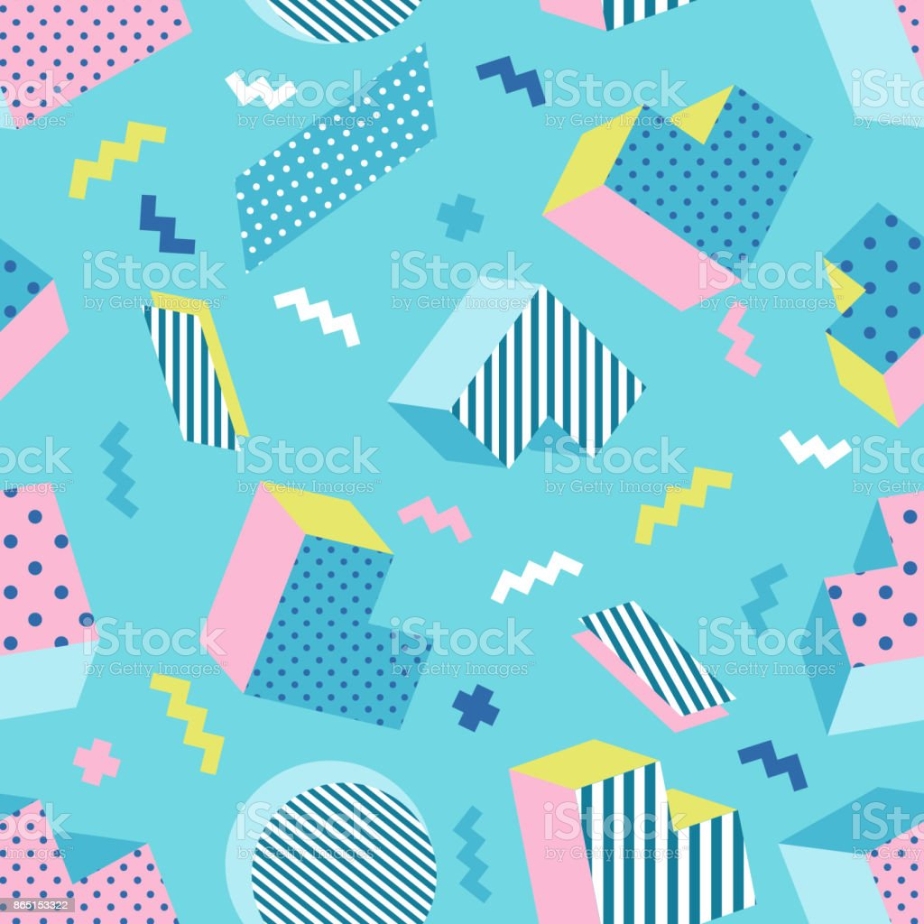 Seamless colorful old school geometric mint green background pattern. vector art illustration