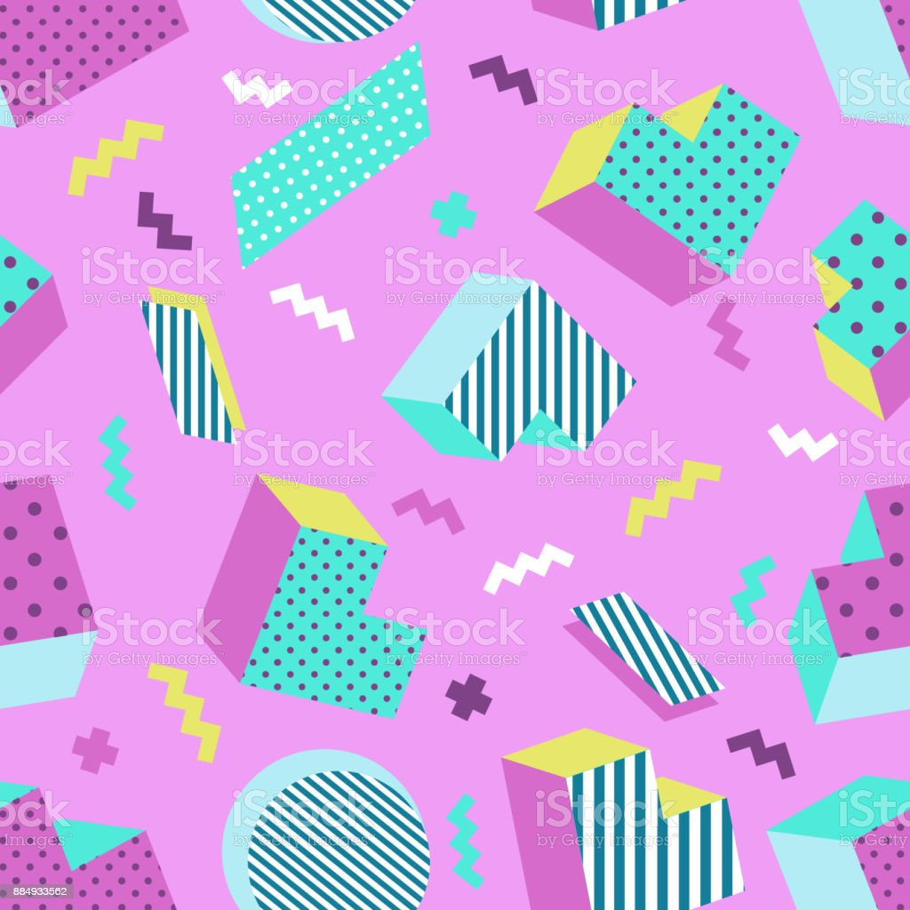 Seamless colorful old school geometric violet background pattern, retro style. vector art illustration