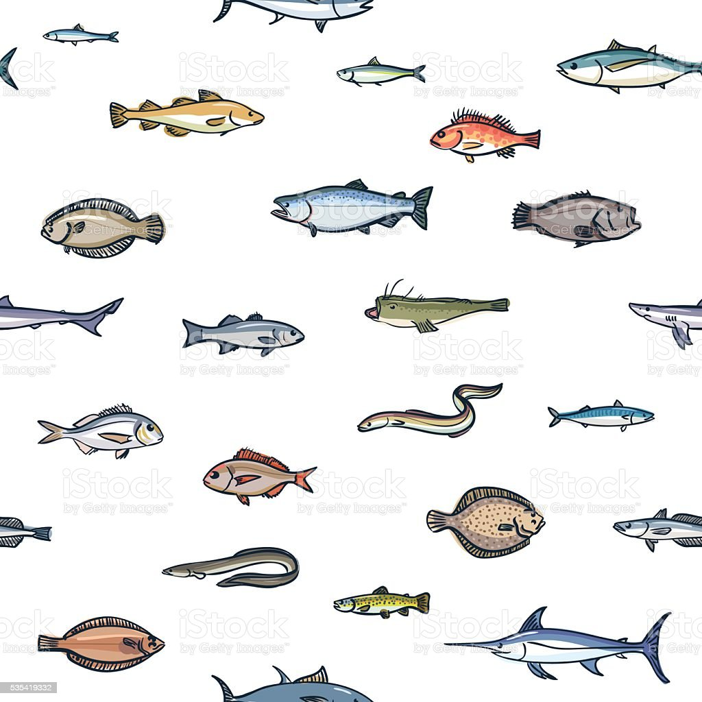 Seamless colorful pattern of marketable fish, hand drawn style vector art illustration
