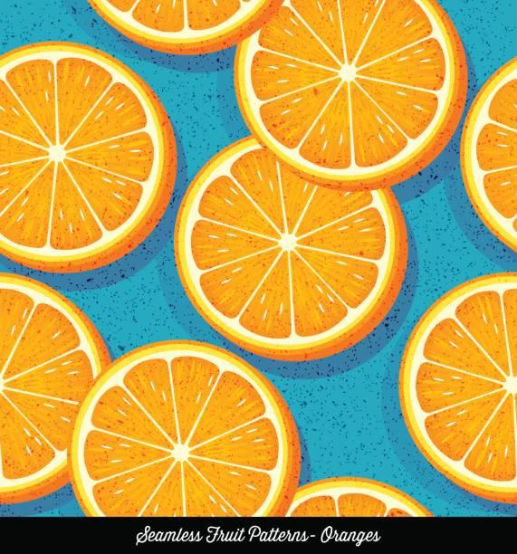 Seamless colorful pattern of sliced oranges, for backgrounds, textiles, menu design. Vector Illustration. vector art illustration