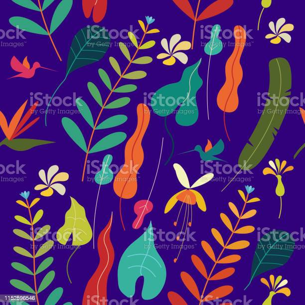 Seamless colorful pattern tropical leaves and flowers on a purple vector id1152596546?b=1&k=6&m=1152596546&s=612x612&h=ryounm4t7knht9iclh tjhazpkd2usmwu3ktbulv1y4=