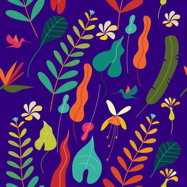 seamless colorful pattern. tropical leaves and flowers. on a purple background. vector illustration. - jungle stock illustrations
